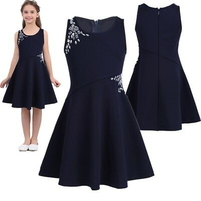 Girls Summer Casual Dress Kids Baby Sleeveless Party Princess Wedding Dresses