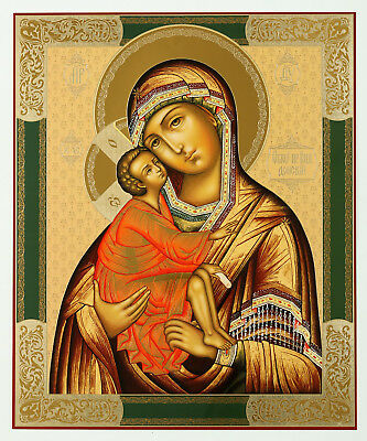 Russian Icon Madonna and Child Christ Virgin of Don St Saint Mary 15 3/4 inch