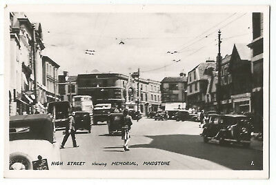 Kent Maidstone High Street Showing Memorial Real Photo Vintage Postcard