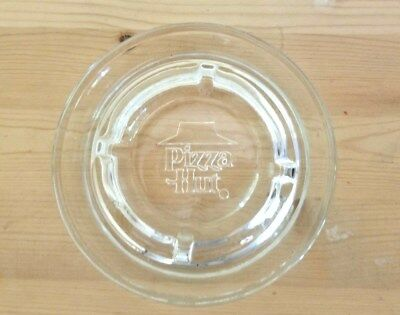 """Vintage 5"""" Clear Glass Pressed PIZZA HUT Ashtray"""