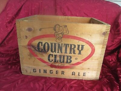 Antique Country Club Ginger Ale Wooed Case/Crate  Springfield, Mass.