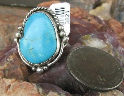 Turquoise Native American RingOld Navajo Pawn Vintage Sterling Silver 6.0