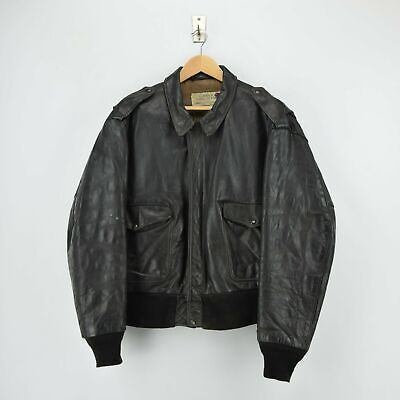 Vintage Schott IS-674-MS A-2 Brown Leather Flight Bomber Jacket Made in Usa XL