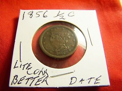 Better Date 1856 Braided Hair Half Cent  VF Details from Lite Corrosion