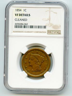 1854 Braided Hair Large Cent (VF Details) NGC.  Cleaned.