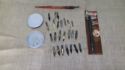Calligraphy artist's tools traditional vtg wood pen with nibs plus brand new pen
