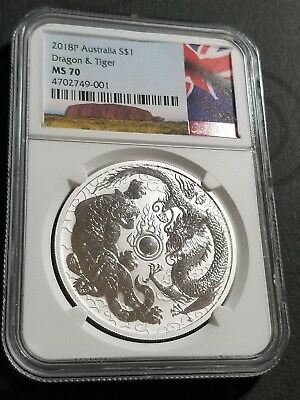 2018 Dragon and Tiger NGC ~ MS70 ~ Australia $1 ~ 1 Oz Silver BU Coin IN HAND! ☆