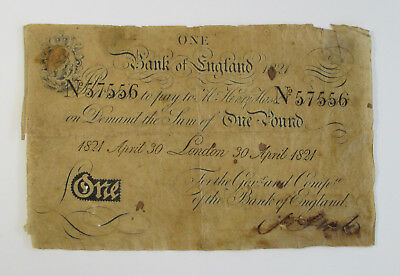 Original 1821 BANK OF ENGLAND ONE POUND NOTE Antique British Currency Money
