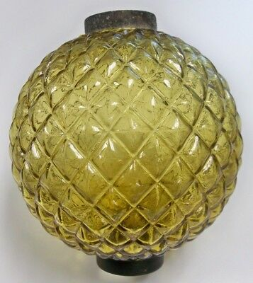 Awesome Antique Amber Raised Quilt Lightning Rod Ball with Original Caps!