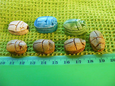 .Lot of 7 Egyptian Scarabs hand-made of Egypt faience & steatite.Hieroglyphics.