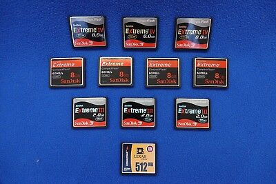 Compact Flash (CF) Cards - Lot of 11, SanDisk and Lexar,  8GB to 512 MB,  Ligh