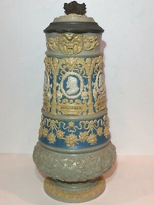 "Antique Mettlach 2.5L German Beer Stein ""Nuremberg Artist Stein"" 14"" Tall 1898"
