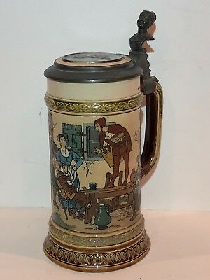 "Antique Mettlach 1/2L German Beer Stein #2582 ""Speech by a Fool"" Dated 1899"