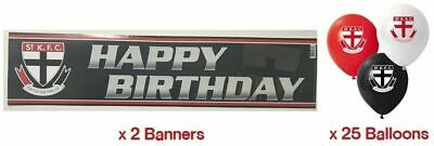 St Kilda Saints AFL Party Pack 25 Balloons & 2 Happy Birthday Banners