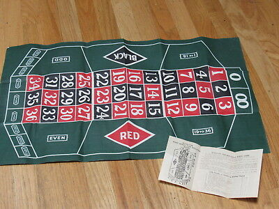 Vintage Roulette Cloth with Marx Rules of Game - No Wheel