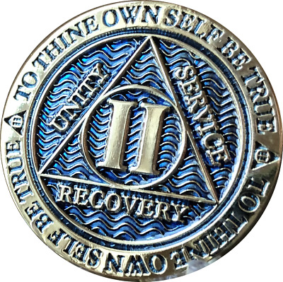 2 Year AA Medallion Reflex Dusty Blue Gold Plated Sobriety Chip Coin II Two