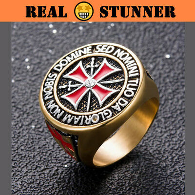 MEDIEVAL Vintage-style Knights Templar Stainless Steel Jewelry Ring Hipster