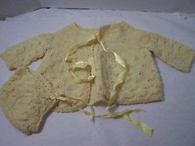 Vintage Yellow Crocheted Hat & Sweater for 9 to 12 month Baby  G32-7