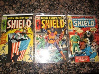 Nick Fury Agent of Shield 13 15 18 VG marvel silver comic estate lot (( NR