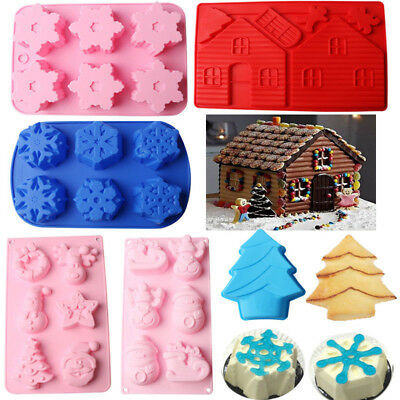 Christmas Silicone Muffin Pan Chocolate Pastry Cake Bakeware Baking Tray Moulds