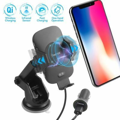 Wireless Charging Auto Open Phone Holder Mount Stand Cradle+USB 3.0 Car Charger