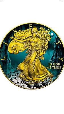 2016 1 Oz silver HALLOWEEN SKULLS EAGLE COIN WITH 24K GOLD GILDED.