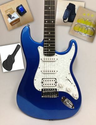 Metallic Blue Haze E-211 Strat Electric Guitar SSH + Gig Bag + Full Kit