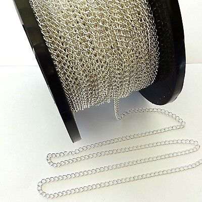 Sterling Silver 3.5x6mm Continuous D/C Curb Chain For Jewellery Making