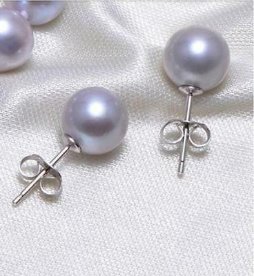 Beautiful AAA 9-10mm natural south sea silver gray round pearl stud earring 14k