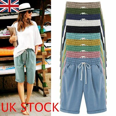 UK Women Ladies Loose Shorts Trousers Cropped Pants Summer Beach Plus Size 10-24