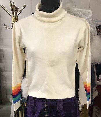 Vintage Ivory Hagemeister Lert Wool Turtle Neck Rainbow Sleeves XS