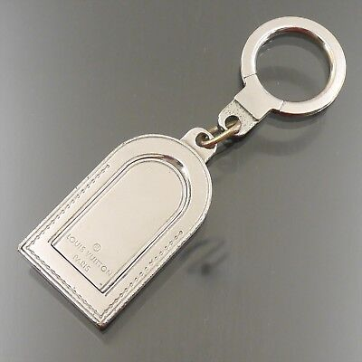 Auth LOUIS VUITTON Porte Cles Address Name Tag Motif Key Ring Silver M9234P