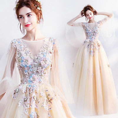 FZ41 Yellow Floral Wedding Bridal dress Formal Prom Party Ball Gown Evening Gift