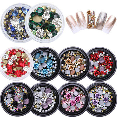 3D Bijoux Nail Art Ongles Strass Glitter Cristal Tips Manucure Fimo Décoration