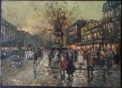 Small Oil on Board, Vintage Street Scene Painting Unsigned