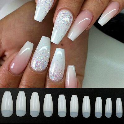 500Pcs Clear White Natural Long Ballerina Coffin Half Cover False Nails Art Tips