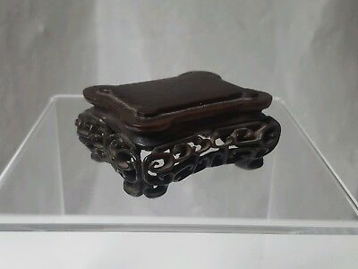 Antique Chinese 19th Century Carved Hardwood Wood Stand for Vase or Jade
