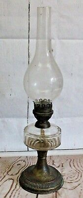 Antique Oil Lamp With 14 sided Cut Glass Reservoir. (Hospiscare)