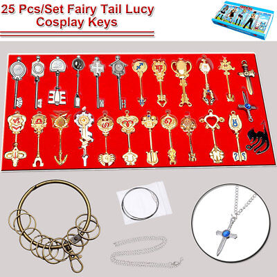 New Fairy Tail 25pcs of Keys set Lucy heart keychain Necklace Pendant Cosplay AU