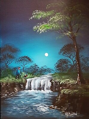 Mal.burton Original Art Oil Painting    Moonlight Falls    Walking Dog