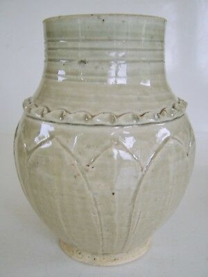 BEAUTIFUL OLD ANTIQUE CHINESE VASE JAR - xing ding collection celladon interest