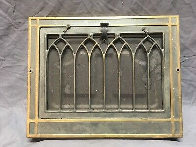 Vtg Stamped Steel Wall Heat Grate Register Vent Gothic 12x15 Old 233-18E