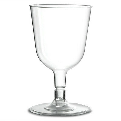100 Disposable Clear  Plastic Wine Glasses -   175ml- Weddings Parties BBQS