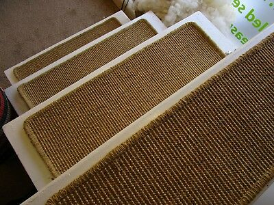 7 stair pads treads sisal Seagrass carpet 63cm x 20cm bronze gold/natural