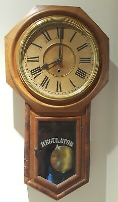 Antique Working Ansonia Octagon Top School House Long Drop Regulator Wall Clock