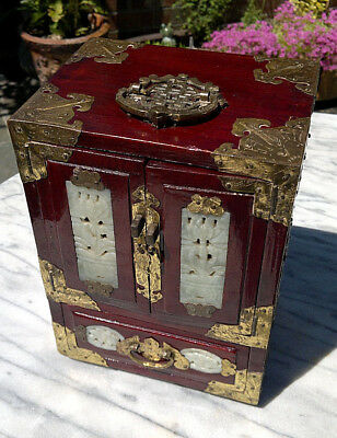 """Vintage Chinese Wood Jewellery Box 4 Drawer with Carved Jade Panels 9.75""""Tall"""