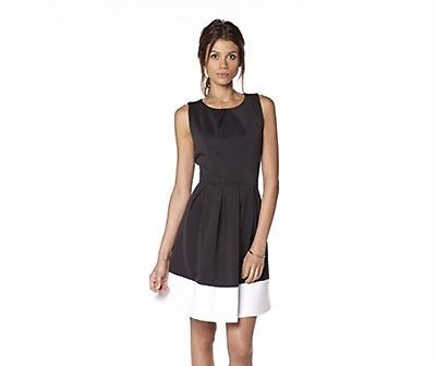 B You Ladies Scuba Panel Dress Navy & Cream Size 16 New With Tags
