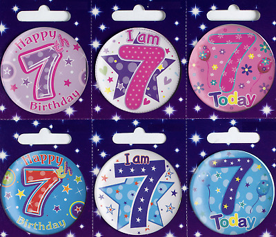 Age 7 Birthday Badge 7th Birthday Badge Gift Present