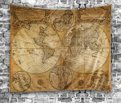 Vintage Antique-Look Map World Globe TAPESTRY 60x80 Hanging Fabric Wall Art