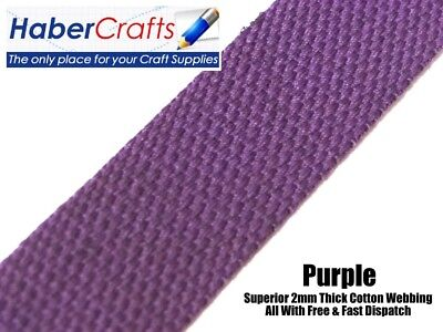 Purple 25mm Width Cotton Webbing Tape Belting Fabric Strap Bag Making Strapping